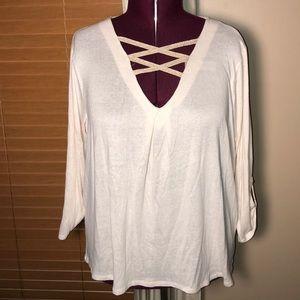 Bobeau Off White Gold 3/4 Sleeve Sweater NWT